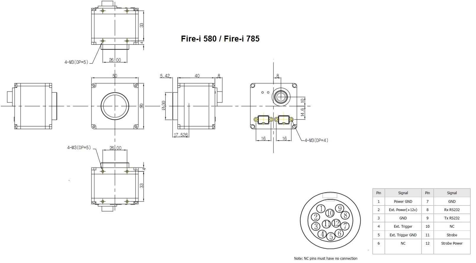 firewire 800 industrial cameras unibrain mechanical diagram fire i 580 fire i 785